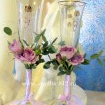 свадебные бокалы, оформление свадебных бокалов